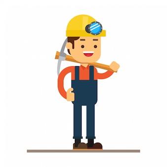 Man karakter avatar icon.on mijnwerkers