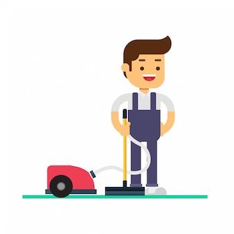 Man karakter avatar icon.schoonmaak service en benodigdheden