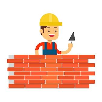Man karakter avatar icon.worker bouwt een muur