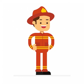 Man karakter avatar pictogram. brandweerman in uniform