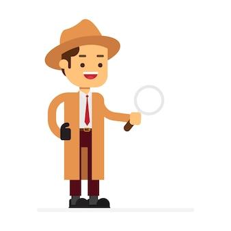 Man karakter avatar pictogram. detective in een beige regenjas en hoed