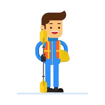 Man karakter avatar pictogram. rafting