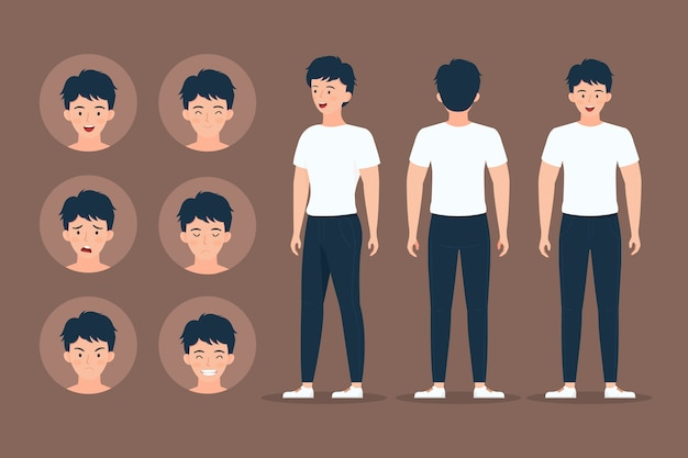 Man karakter doet verschillende poses