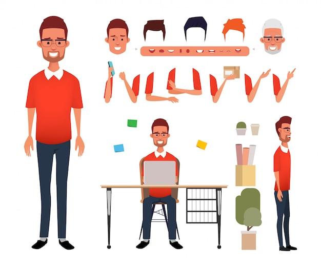 Man karakter freelance jobcreatie voor animatie mond.