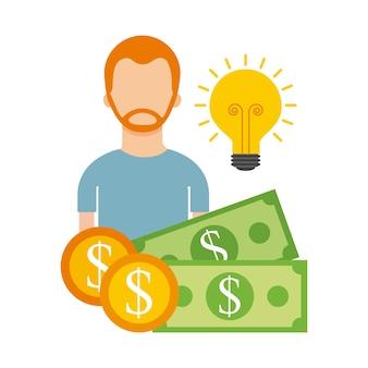 Man karakter geld idee zakelijke financiering hulp