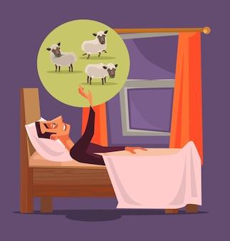 Man karakter kan niet slapen en tellen schapen insomnia concept cartoon afbeelding