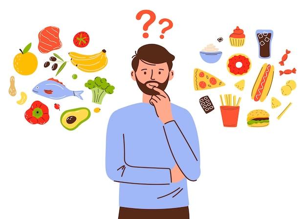 Man karakter kiest tussen gezond en ongezond eten fastfood en evenwichtige menu's vergelijken