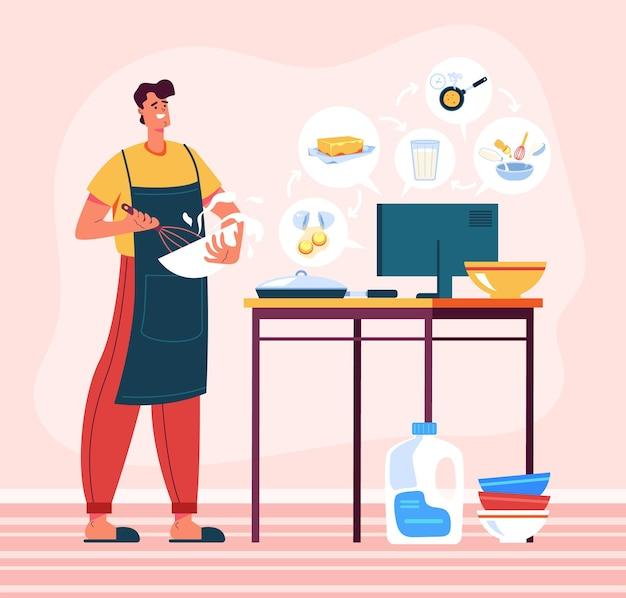 Man karakter kijken naar online eten koken tutoril klasse cursus en diner concept voorbereiden.