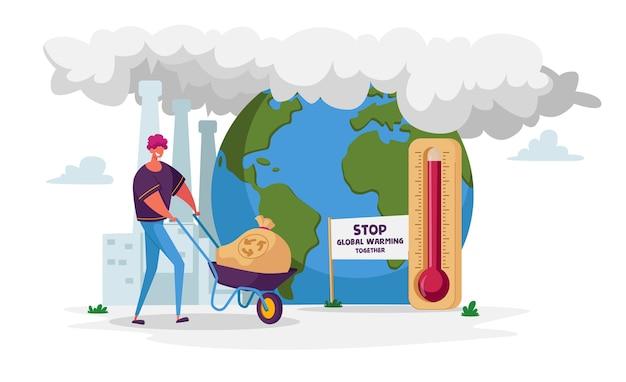 Man karakter kruiwagen met vuilniszak duwen voor recycling