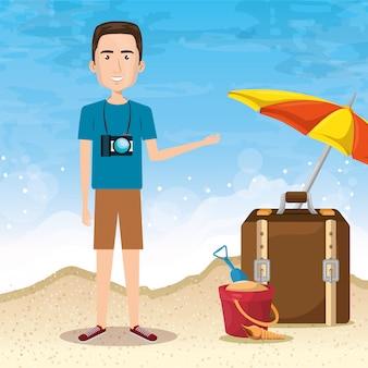 Man karakter op het strand