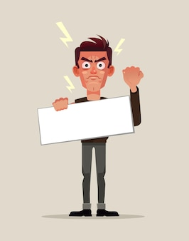Man karakter protest. platte cartoon afbeelding