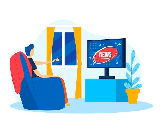 Man karakter tv kijken nieuws, illustratie. zittend in de buurt van televisietechnologie cartoon concept. platte vrijetijdsbesteding mannelijke levensstijl, mannelijke menselijke kunst fauteuil. volwassen mensen kijken naar scherm, video.