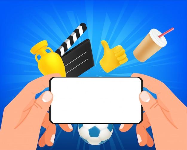 Man kijken naar video op zijn moderne smartphone