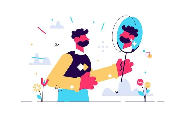Man kijkt naar zijn spiegelbeeld in spiegel. menselijk karakter op wit.