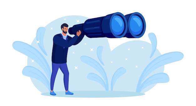 Man kijkt ver vooruit door een grote verrekijker, op zoek naar iets. persoon houdt iemand nauwlettend in de gaten. jongen reist met verrekijker