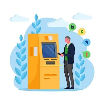 Man klant permanent in de buurt van de machine van de creditcardlezer en geld opnemen
