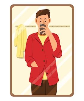 Man kleding passen en foto maken met mobiele telefoon