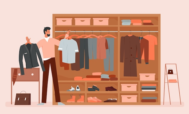 Man kleren kiezen in cartoon kleding huis garderobe kamer