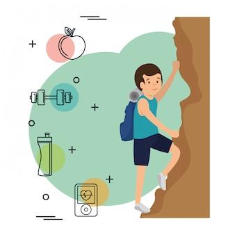 Man klimmen met sport pictogrammen