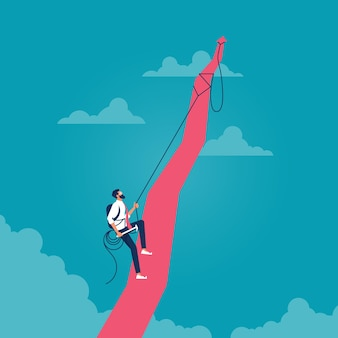 Man klimmen rode pijl in wolken beeltenis van het concept van aspiratie