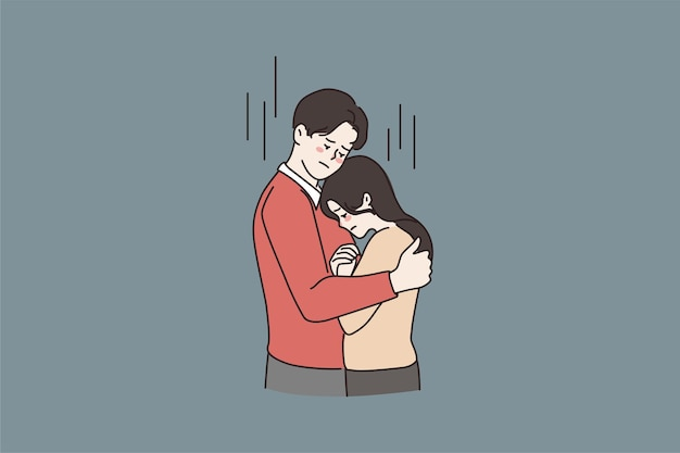 Man knuffel troost ongelukkige jonge vrouw