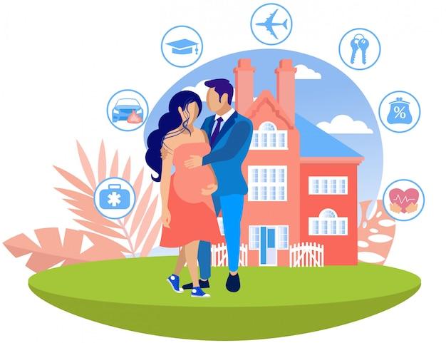 Man knuffels zwangere vrouw op groot huis.
