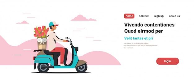 Man koerier rijden scooter met boeket internationale vrouwendag bloemen bezorgen c