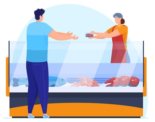 Man koopt visfilet in supermarkt, verkoper weegt goederen, vectorillustratie