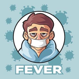 Man koorts ziekte corona virus
