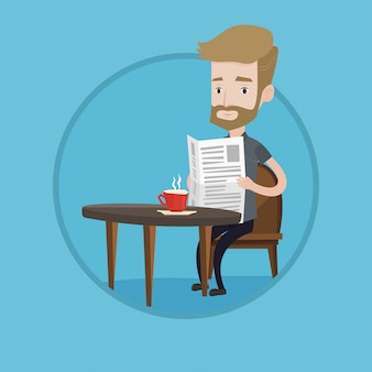 Man krant lezen en koffie drinken.