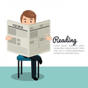 Man krant pictogram lezen
