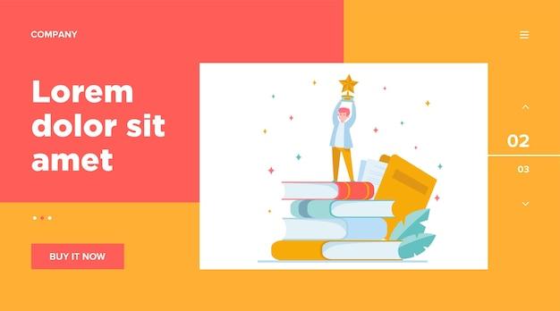Man krijgt onderscheiding schriftelijk. ster, schrijver, veer. kennis en onderwijsconcept voor websiteontwerp of bestemmingswebpagina