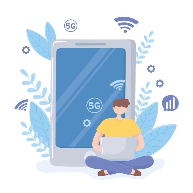Man laptop gebruikt met hoge snelheid internet, 5 generatie netwerk illustratie