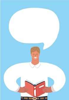Man las het boek en de tekstballon