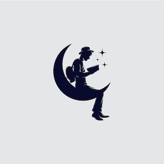 Man leesboek logo sjabloonontwerp