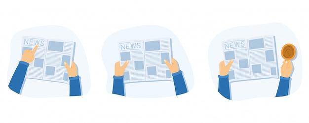 Man leest een krant, laat iets zien en drinkt koffie of thee