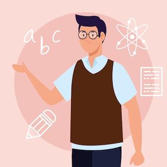 Man leraar met onderwijs pictogrammen