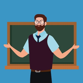 Man leraar met schoolbord op blauwe achtergrond