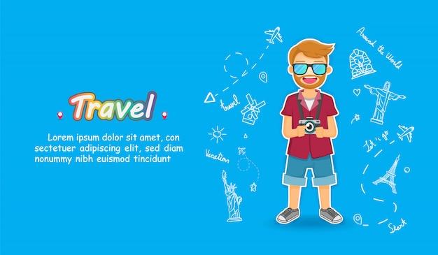 Man leuke cartoon reiziger. vliegtuig check-in punt reizen doodle hand tekenen accessoires over de hele wereld