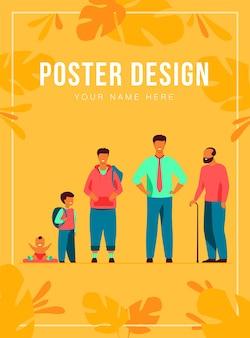 Man levenscyclus concept. set van mannelijk karakter in verschillende leeftijden. baby, kind, jongen, leerling, student, volwassene, gepensioneerde, oude man in de rij