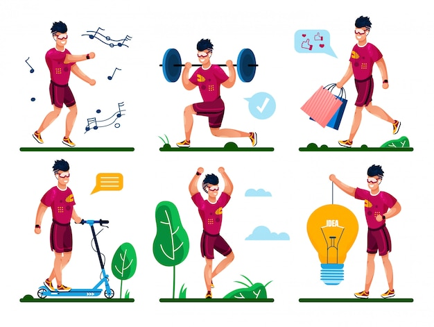 Man life routine, fitness training concepten