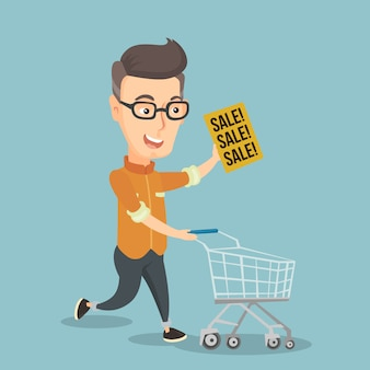 Man loopt in een haast naar de winkel te koop.