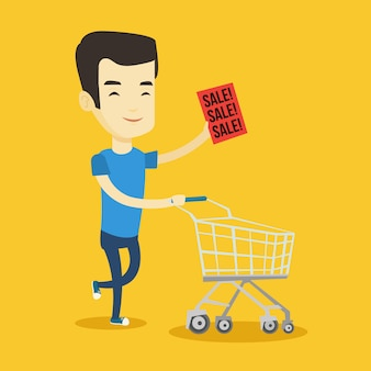Man loopt in haast naar de winkel te koop.