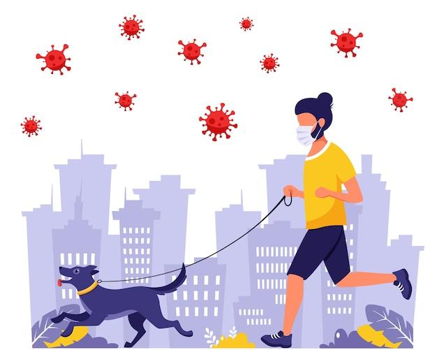 Man loopt met hond tijdens pandemie. man in gezichtsmasker. buitenactiviteiten tijdens pandemie. illustratie in vlakke stijl.