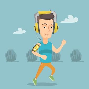 Man loopt met oortelefoons en smartphone.