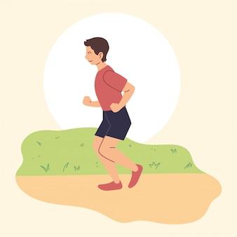 Man loopt of jogt, buitenactiviteit