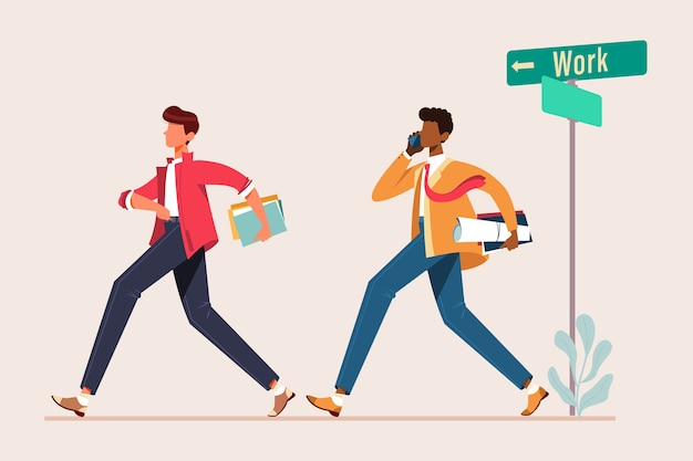Man loopt om te werken