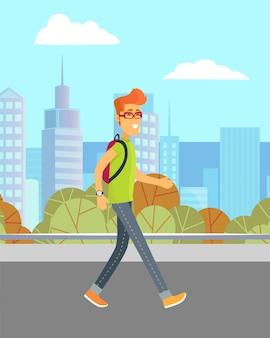 Man loopt op straat