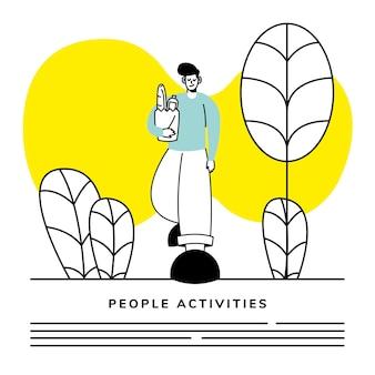 Man lopen met boodschappen activiteit karakter en belettering illustratie ontwerp
