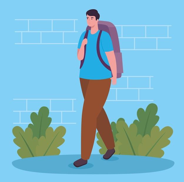 Man lopen met zak en struiken ontwerp, outdoor activiteit en seizoen